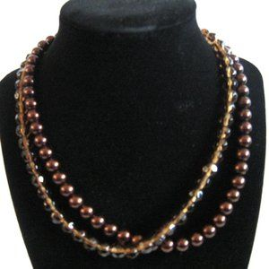 Premier Designs Glass Pearl & Crystal Necklace